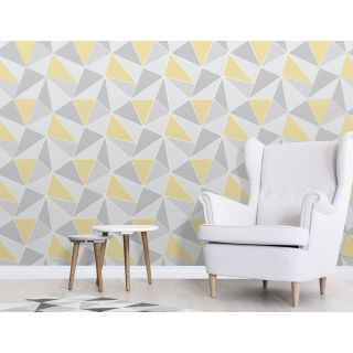 Fine Decor Apex Yellow and Grey Triangles Wallpaper Wood Grain Geometric FD42223