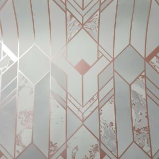 Muriva Elixir Geo Rose Gold 167502- Geometric Marble Wallpaper