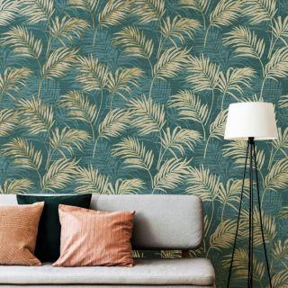 Grandeco Life Lounge Palm Teal A46105