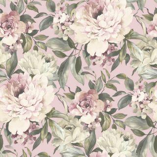 Holden Decor Gardenia Floral Blush Pink Glitter Wallpaper - 36070