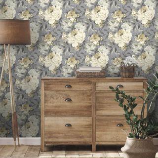 Holden Decor Gardenia Floral Grey/Ochre Glitter Wallpaper - 36071