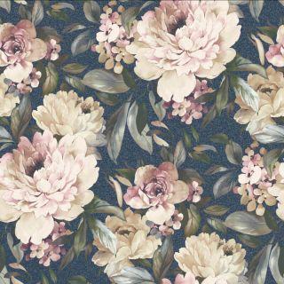 Holden Decor Gardenia Floral Navy Glitter Wallpaper - 36072