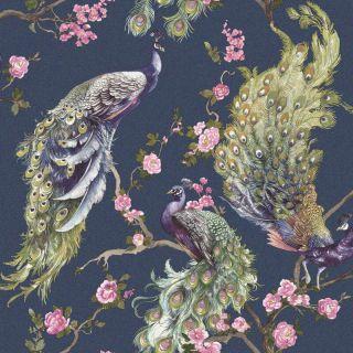 Holden Decor Menali Peacock Design Navy Glitter Wallpaper - 35922