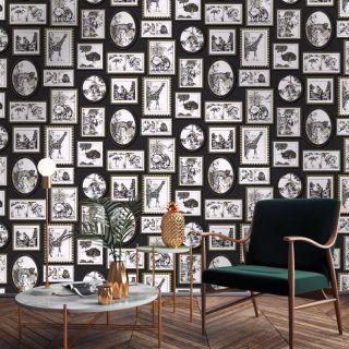 Holden Decor Safari Frames Animals Wallpaper - Black Metallic Gold
