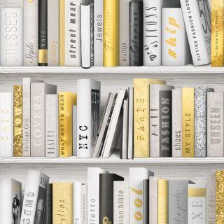 Wallpaper Muriva - Fashion Library Bookshelf - Sparkle - In Gold - 139503
