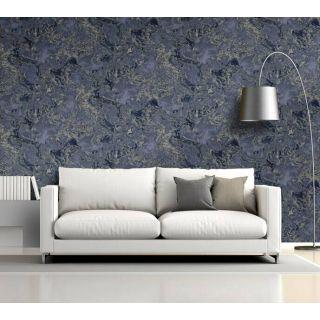 Debona Liquid Marble 6365 Navy and Silver Wallpaper