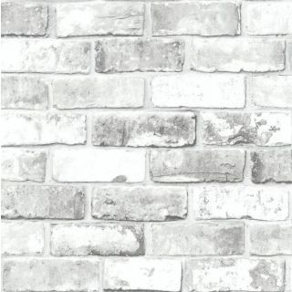 White Brick Wall with Grey Shimmer Tones Effect Faux Debona Wallpaper 6751