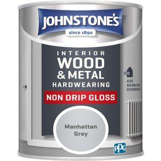 Johnstone's Interior Hardwearing Non Drip Gloss - Manhatten Grey 0.75L