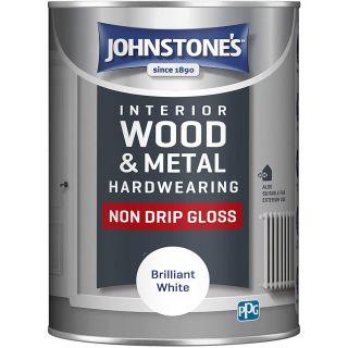 Johnstone's Interior Hardwearing Non Drip Gloss - Pure Brilliant White 1.25L