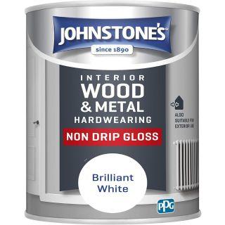 Johnstone's Interior Hardwearing Non Drip Gloss - Pure Brilliant White 0.75 L