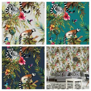 Holden Lemur Wallpaper 10m Silver Rose Gold Teal Blue Available Feature Wall