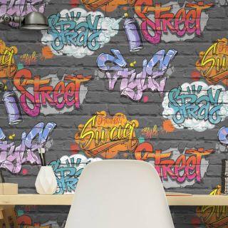 MURIVAA FREESTYLE STREET GRAFFITI BLACK KIDS WALLPAPER - L17901