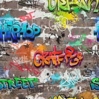 FINE DECOR KIDS GRAFFITI WALLPAPER