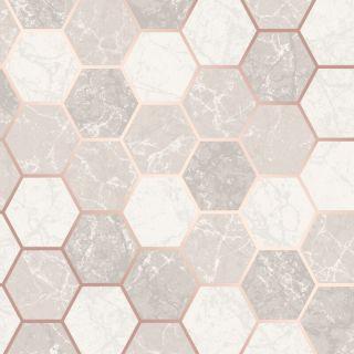 Crown Metro Hex Geo Marble Metallic Wallpaper - Rose Gold M1507