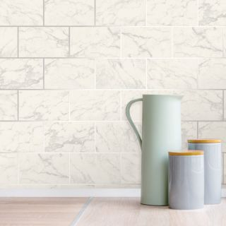 Crown Metro Brick Marble Effect Metallic Wallpaper - Silver M1509