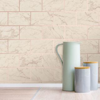 Crown Metro Brick Marble Effect Metallic Wallpaper - Rose Gold M1510