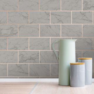 Crown Metro Brick Marble Effect Metallic Wallpaper - Charcoal M1511