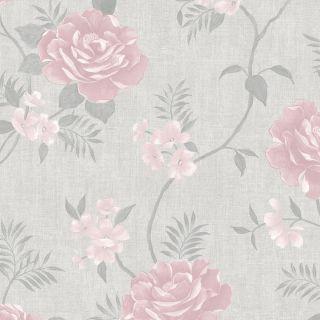Muriva Rosalind Floral Wallpaper Grey Pink - 173504