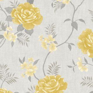 Muriva Rosalind Floral Wallpaper Ochre  173502