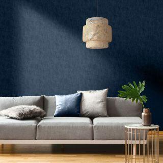 Muriva Linen Texture Effect Wallpaper Blue 173533