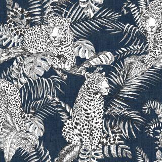 Muriva Mamboa Leopard Wallpaper Blue 173523