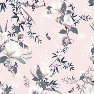 Muriva Lipsy Lotus Blush Pink Floral Leaf Wallpaper - 144051