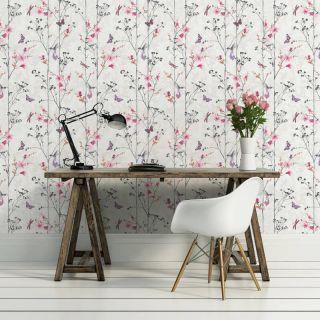 Muriva Eden Wallpaper 102550 - Feature Wall Floral Butterfly Bird Foliage Pink