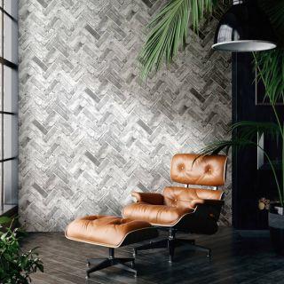 Muriva Herringbone Brick Grey Wallpaper - 174502