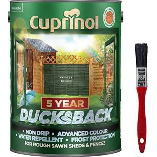 New 2020 Cuprinol Ducksback Shed & Fence Paint Forest Green. Non Drip 5L