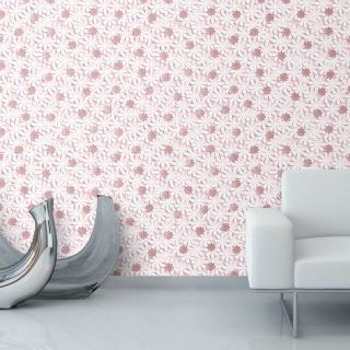 Nina Home Floral Daisy Pink/Rose Gold Metallic Wallpaper - N10032