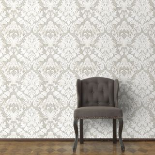 Nina Home Valencia Damask Taupe/Champagne Metallic Wallpaper - N1003