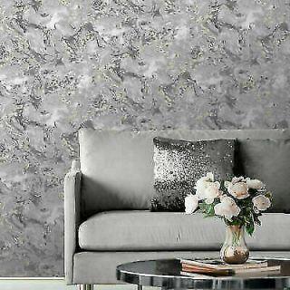 Muriva Elixir Liquid Marble Grey/Silver Metallic Wallpaper- 166501