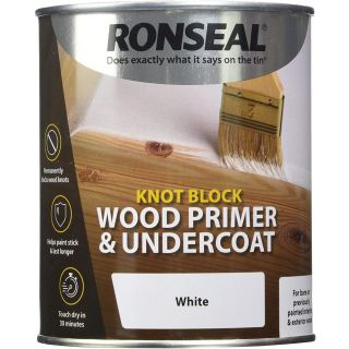 Ronseal Knot Block Wood Primer and Undercoat - White 750ml