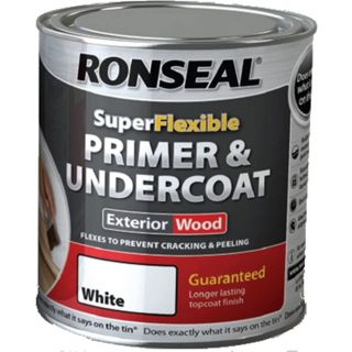 Ronseal Super Flexible Wood Primer and Undercoat - White 750ml