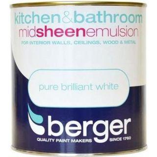 Berger Paint for Kitchen & Bathroom Matt - Brilliant White 1 L