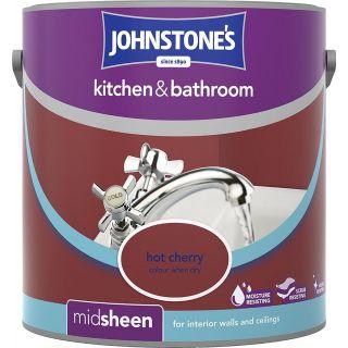 Johnstone's Kitchen and Bathroom Emulsion Paint - Hot Cherry 2.5 L