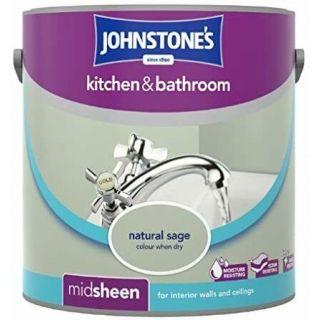 Johnstones Kitchen & Bathroom Midsheen Emulsion Paint - Natural Sage 2.5 L