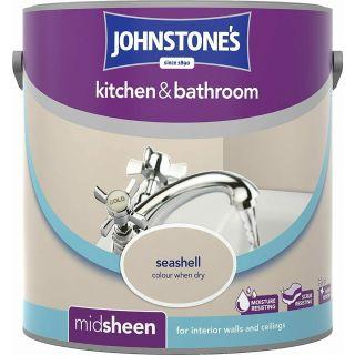 Johnstones Kitchen & Bathroom Midsheen Emulsion Paint - Seashell 2.5 L