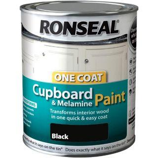 Ronseal OC Cupboard Paint Black Satin 750ML