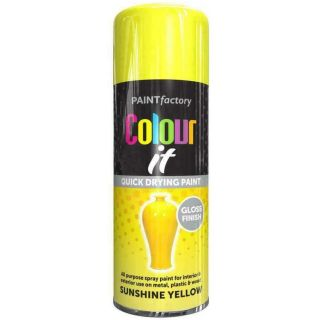 Paint Factory Colour It Primer Spray Paint Sunshine Yellow Gloss Finish 400ml