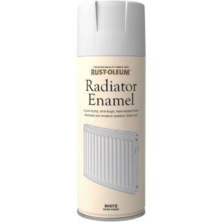 Rust-Oleum Radiator Enamel Spray Paint - Satin White 400ml