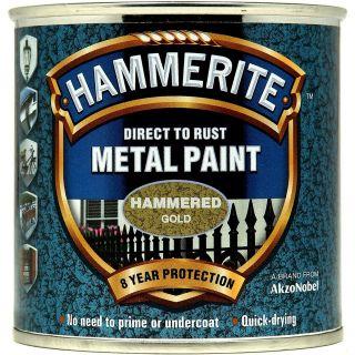 Hammerite 5084818 Metal Paint - Hammered Gold 250ml