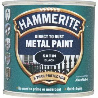 Hammerite 5084904 Metal Paint: Satin Black 250ml