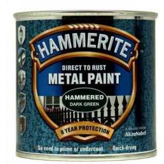 Hammerite Direct to Rust Metal Paint - Hammered Dark Green Finish 250ML
