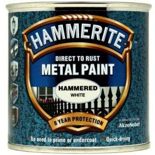 Hammerite Direct to Rust Metal Paint - Hammered White Finish 250ML