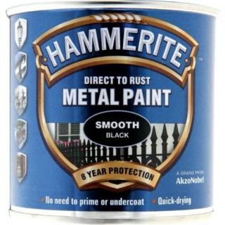 Hammerite Direct to Rust Metal Paint - Smooth Black Finish 250ML