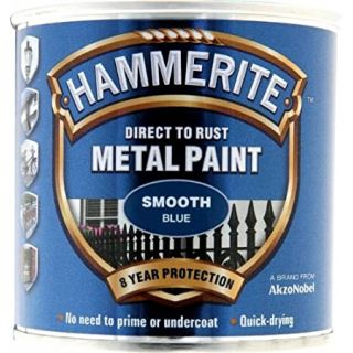 Hammerite Direct to Rust Metal Paint - Smooth Blue Finish 250ML