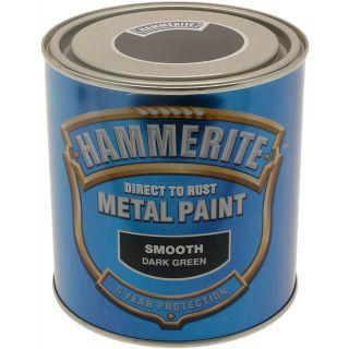 Hammerite Direct to Rust Metal Paint - Smooth Dark Green Finish 250ML