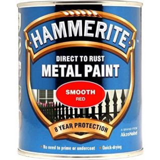 Hammerite Direct to Rust Metal Paint - Smooth Red Finish 750ML