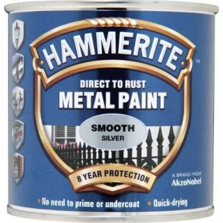 Hammerite Direct to Rust Metal Paint - Smooth Silver Finish 250ML
